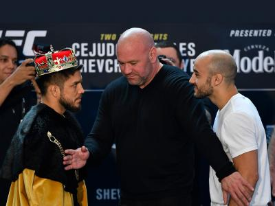 Henry Cejudo and Marlon Moraes of Brazil face off for the media during the UFC 238 Ultimate Media Day at the United Center on June 6, 2019 in Chicago, Illinois. (Photo by Jeff Bottari/Zuffa LLC)