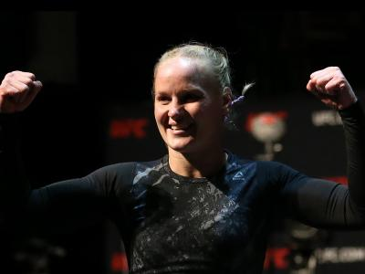 Valentina Shevchenko of Kyrgyzstan trains during UFC 238 Cejudo v Moraes: Open Workouts at Chicago Theatre on June 05, 2019 in Chicago, Illinois. (Photo by Dylan Buell/Zuffa LLC)