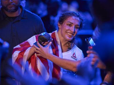 DALLAS, TX - SEPTEMBER 08: Tatiana Suarez celebrates after defeating Carla Esparza during the UFC 228 event at American Airlines Center on September 8, 2018 in Dallas, Texas. (Photo by Cooper Neill/Zuffa LLC/Zuffa LLC via Getty Images)