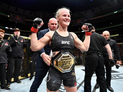 CHICAGO, IL - JUNE 08: Valentina Shevchenko of Kyrgyzstan celebrates her KO victory over Jessica Eye in their women's flyweight championship bout during the UFC 238 event at the United Center on June 8, 2019 in Chicago, Illinois. (Photo by Jeff Bottari/Zuffa LLC/Zuffa LLC via Getty Images)