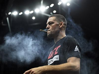 Former UFC lightweight title challenger Nate Diaz smokes during an open workout for fans and media at Honda Center on August 14, 2019 in Anaheim, California. (Photo by Kevork Djansezian/Zuffa LLC)