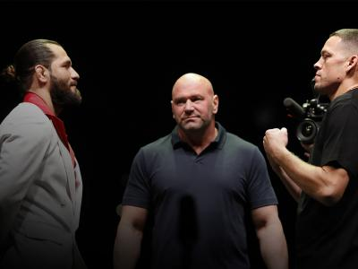 NEW YORK, NEW YORK - SEPTEMBER 19: Jorge Masvidal and Nate Diaz face off during a press conference ahead of UFC 244 at The Rooftop at Pier 17 on September 19, 2019 in New York City. (Photo by Michael Owens/Zuffa LLC/Zuffa LLC)
