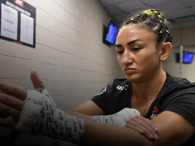 DALLAS, TX - SEPTEMBER 08: Carla Esparza has her hands wrapped backstage before her Women's Strawweight bout against Tatiana Suarez during the UFC 228 event at American Airlines Center on September 8, 2018 in Dallas, Texas. (Photo by Mike Roach/Zuffa LLC/Zuffa LLC via Getty Images)