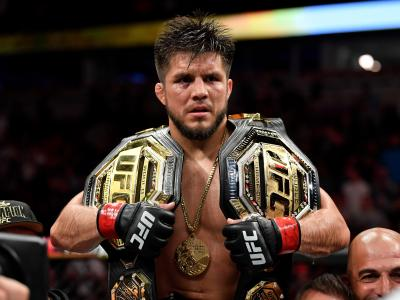 CHICAGO, IL - JUNE 08: Henry Cejudo celebrates his TKO victory over Marlon Moraes of Brazil in their bantamweight championship bout during the UFC 238 event at the United Center on June 8, 2019 in Chicago, Illinois. (Photo by Jeff Bottari/Zuffa LLC)