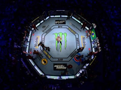 An overhead view of the octagon during the intoduction of Jon Jones and Thiago Santos of Brazil during the UFC 239 event at T-Mobile Arena on July 6, 2019 in Las Vegas, Nevada. (Photo by Zuffa LLC/Zuffa LLC)
