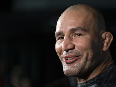 Glover Teixeira in the media scrum during the UFC Fight Night Open Workouts at Rogers Arena on September 11, 2019 in Vancouver, Canada. (Photo by Rich Lam/Zuffa LLC/Zuffa LLC)