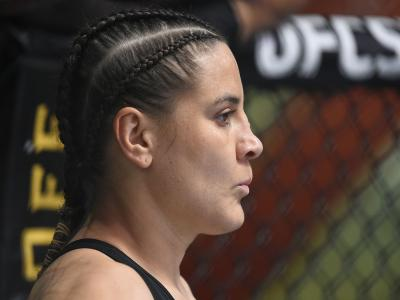 Jennifer Maia of Brazil prepares to fight Joanne Calderwood of Scotland in their flyweight fight during the UFC Fight Night event at UFC APEX on August 01, 2020 in Las Vegas, Nevada. (Photo by Chris Unger/Zuffa LLC)