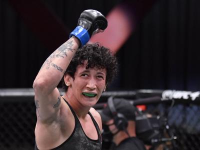 Virna Jandiroba of Brazil celebrates after her submission victory over Felice Herrig in their strawweight bout during the UFC 252 event at UFC APEX on August 15, 2020 in Las Vegas, Nevada. (Photo by Jeff Bottari/Zuffa LLC)