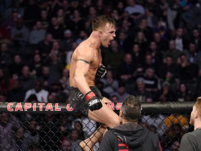 Cody Stamann reacts after the conclusion of his bantamweight bout against Song Yadong of China during the UFC Fight Night event at Capital One Arena on December 07, 2019 in Washington, DC. (Photo by Jeff Bottari/Zuffa LLC)