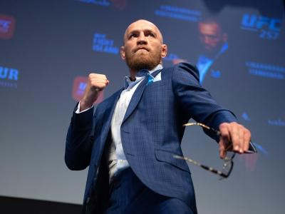 Conor McGregor poses on stage during the UFC 257 Press Conference inside Etihad Arena on UFC Fight Island on January 20, 2021 in Yas Island, Abu Dhabi, United Arab Emirates. (Photo by Chris Unger/Zuffa LLC)