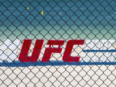 General view of the UFC Fight Island sign on the beach in Abu Dhabi (Photo by Juan Cardenas/Zuffa LLC)