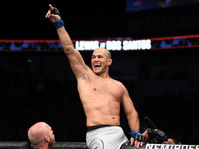 Junior Dos Santos of Brazil celebrates after defeating Derrick Lewis in their heavyweight bout during the UFC Fight Night event at Intrust Bank Arena on March 9, 2019 in Wichita, Kansas. (Photo by Josh Hedges/Zuffa LLC)