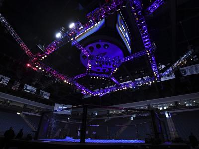 A general view of the Octagon prior to the UFC Fight Night event at Chartway Arena on February 29, 2020 in Norfolk, Virginia. (Photo by Josh Hedges/Zuffa LLC)