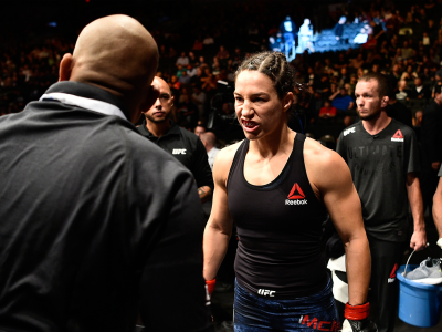 Sara McMann prepares to enter the Octagon before facing Ketlen Vieira of Brazil in their women's bantamweight bout during the UFC 215 event inside the Rogers Place on September 9, 2017 in Edmonton, Alberta, Canada. (Photo by Jeff Bottari/Zuffa LLC)