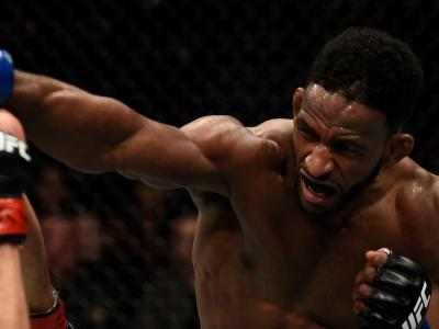 Neil Magny punches Carlos Condit in their welterweight bout during the UFC 219 event inside T-Mobile Arena on December 30, 2017 in Las Vegas, Nevada. (Photo by Jeff Bottari/Zuffa LLC)