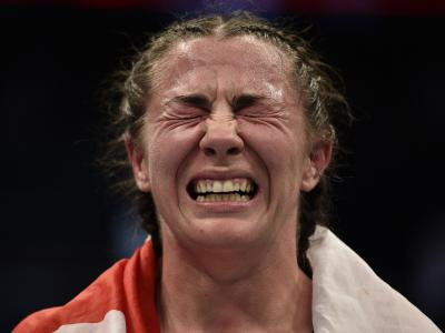 Molly McCann reacts after her decision victory over Diana Belbita in their flyweight bout during the UFC Fight Night event at TD Garden on October 18, 2019 in Boston, Massachusetts. (Photo by Chris Unger/Zuffa LLC)