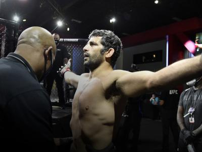 Beneil Dariush of Iran prepares to fight Scott Holtzman in their lightweight fight during the UFC Fight Night event at UFC APEX on August 08, 2020 in Las Vegas, Nevada. (Photo by Chris Unger/Zuffa LLC)