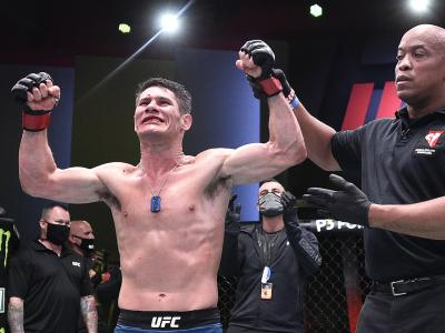 Charles Rosa celebrates after his decision victory over Kevin Aguilar in their lightweight fight during the UFC Fight Night event at UFC APEX on June 13, 2020 in Las Vegas, Nevada. (Photo by Chris Unger/Zuffa LLC)