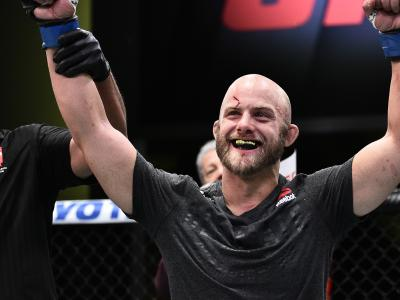 Justin Jaynes reacts after his victory over Frank Camacho in their lightweight bout during the UFC Fight Night event at UFC APEX on June 20, 2020 in Las Vegas, Nevada. (Photo by Chris Unger/Zuffa LLC)
