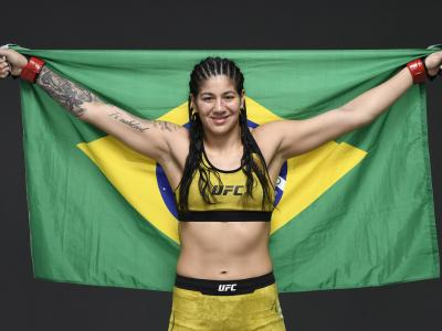 Ketlen Vieira of Brazil poses for a post fight portrait backstage during UFC 253 inside Flash Forum on UFC Fight Island on September 27, 2020 in Abu Dhabi, United Arab Emirates. (Photo by Mike Roach/Zuffa LLC)