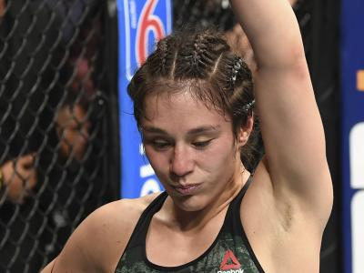 Alexa Grasso of Mexico reacts after the conclusion of her women's strawweight bout against Carla Esparza during the UFC Fight Night event on September 21, 2019 in Mexico City, Mexico. (Photo by Josh Hedges/Zuffa LLC)