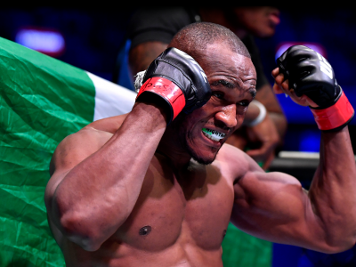 Kamaru Usman of Nigeria enters the octagon during the UFC 245 event at T-Mobile Arena on December 14, 2019 in Las Vegas, Nevada. (Photo by Jeff Bottari/Zuffa LLC)
