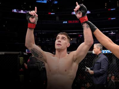 Joe Solecki celebrates his victory over Matt Wiman in their lightweight bout during the UFC Fight Night event at Capital One Arena on December 07, 2019 in Washington, DC. (Photo by Jeff Bottari/Zuffa LLC)