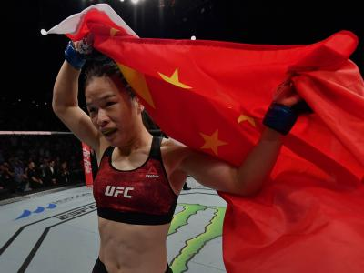 Zhang Weili of China celebrates after her knockout victory over Jessica Andrade of Brazil in their UFC strawweight championship bout during the UFC Fight Night event at Shenzhen Universiade Sports Centre on August 31, 2019 in Shenzhen, China. (Photo by Brandon Magnus/Zuffa LLC/Zuffa LLC)