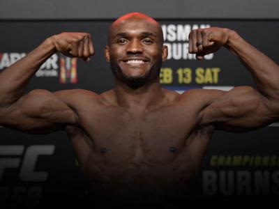 Kamaru Usman of Nigeria poses on the scale during the UFC weigh-in at UFC APEX on February 12, 2021 in Las Vegas, Nevada. (Photo by Jeff Bottari/Zuffa LLC)