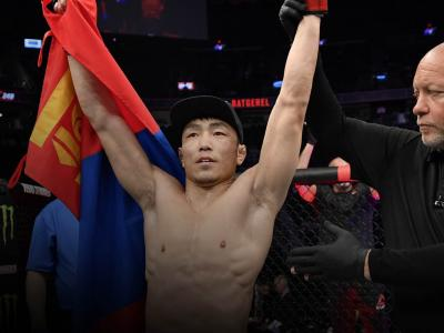 Danaa Batgerel of Mongolia celebrates after his knockout victory over Guido Cannetti in their bantamweight fight during the UFC 248 event at T-Mobile Arena on March 07, 2020 in Las Vegas, Nevada. (Photo by Jeff Bottari/Zuffa LLC)