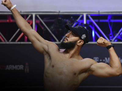 Dominick Reyes poses on the scale during the UFC 229 weigh-in inside T-Mobile Arena on October 5, 2018 in Las Vegas, Nevada. (Photo by Josh Hedges/Zuffa LLC/Zuffa LLC via Getty Images)