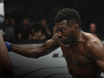 Dwight Grant punches Alan Jouban in their welterweight bout during the UFC 236 event at State Farm Arena on April 13, 2019 in Atlanta, Georgia. (Photo by Josh Hedges/Zuffa LLC)