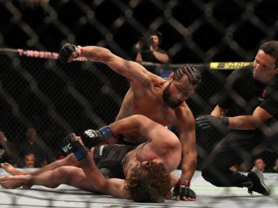 Jorge Masvidal finishes Ben Askren in their welterweight fight during the UFC 239 event at T-Mobile Arena on July 6, 2019 in Las Vegas, Nevada. (Photo by Christian Petersen/Zuffa LLC)
