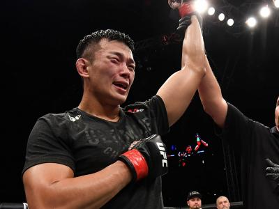 Da Un Jung of South Korea celebrates after his submission victory over Khadis Ibragimov, August 31, 2019 in Shenzhen, China. (Photo by Brandon Magnus/Zuffa LLC)