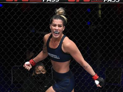 Luana Pinheiro celebrates after her knockout victory over Stephanie Frausto in their strawweight fight during Dana White's Contender Series season four, week nine at UFC APEX on November 10, 2020 in Las Vegas, Nevada. (Photo by Chris Unger/DWCS LLC/Zuffa LLC)