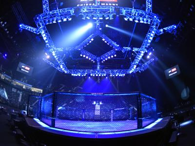 A general view of the Octagon prior to the UFC Fight Night event at Etihad Arena on UFC Fight Island on January 20, 2021 in Abu Dhabi, United Arab Emirates. (Photo by Jeff Bottari/Zuffa LLC)