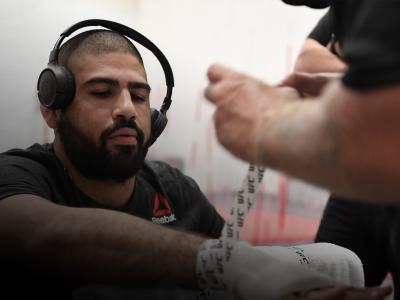 Jacob Malkoun of Australia has his hands wrapped backstage during the UFC 254 event on October 24, 2020 on UFC Fight Island, Abu Dhabi, United Arab Emirates. (Photo by Mike Roach/Zuffa LLC)