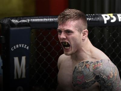Marvin Vettori of Italy celebrates after his submission victory over Karl Roberson in their middleweight fight during the UFC Fight Night event at UFC APEX on June 13, 2020 in Las Vegas, Nevada. (Photo by Chris Unger/Zuffa LLC)