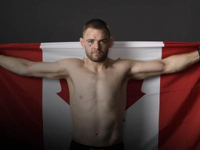 Tristan Connelly of Canada poses for a portrait backstage after his victory during the UFC Fight Night event at Rogers Arena on September 14, 2019 in Vancouver, Canada. (Photo by Mike Roach/Zuffa LLC/Zuffa LLC)