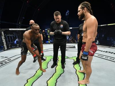 UFC welterweight champion Kamaru Usman and challenger Jorge Masvidal face off before their fight