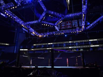 A general view of the Octagon prior to the UFC 249 event at VyStar Veterans Memorial Arena on May 09, 2020 in Jacksonville, Florida. (Photo by Jeff Bottari/Zuffa LLC)