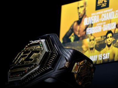 051421-UFC262-Scorecards_A general view of the UFC championship belt during the UFC 262 press conference at George R. Brown Convention Center on May 13, 2021 in Houston, Texas. (Photo by Mike Roach/Zuffa LLC)