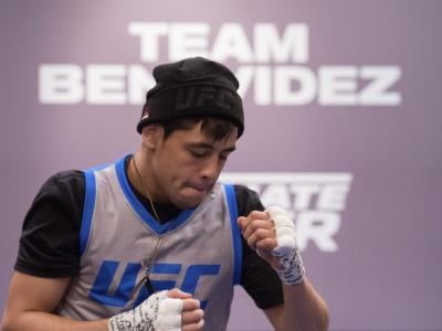 Brandon Moreno prepares to enter the Octagon before facing Alexandre Pantoja during the filming of The Ultimate Fighter: Team Benavidez vs Team Cejudo at the UFC TUF Gym on July 13, 2016 in Las Vegas, Nevada. (Photo by Brandon Magnus/Zuffa LLC)