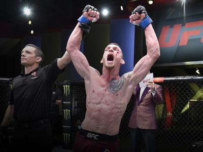 David Dvorak of the Czech Republic reacts after his victory over Jordan Espinosa in their flyweight bout during the UFC Fight Night event at UFC APEX on September 19, 2020 in Las Vegas, Nevada. (Photo by Chris Unger/Zuffa LLC)