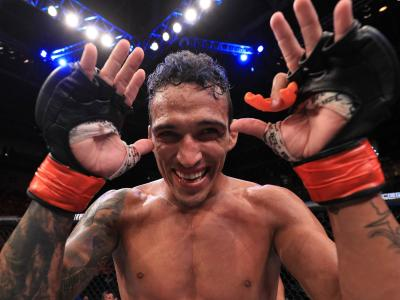 Charles Oliveira of Brazil celebrates after his submission victory over David Teymur of Sweden in their lightweight fight during the UFC Fight Night event at CFO Centro de Formacao Olimpica on February 2, 2019 in Fortaleza, Brazil. (Photo by Buda Mendes/Zuffa LLC/Zuffa LLC via Getty Images)