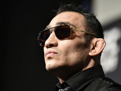 Tony Ferguson interacts with media during the UFC 249 press conference at T-Mobile Arena on March 06, 2020 in Las Vegas, Nevada. (Photo by Chris Unger/Zuffa LLC)