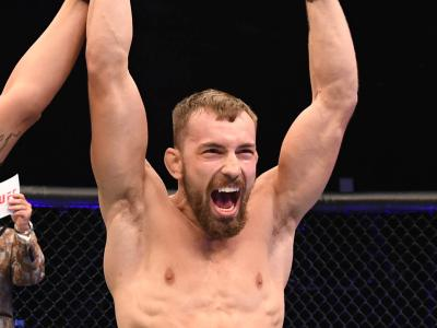 Ludovit Klein of Slovakia celebrates after defeating Shane Young of New Zealand in their featherweight bout during UFC 253 inside Flash Forum on UFC Fight Island on September 27, 2020 in Abu Dhabi, United Arab Emirates. (Photo by Josh Hedges/Zuffa LLC)