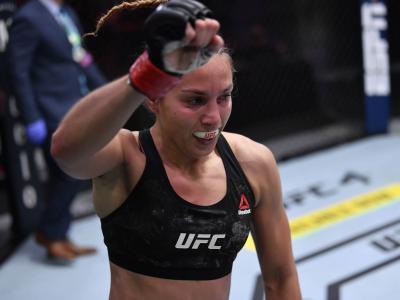 Antonina Shevchenko of Kyrgyzstan celebrates her TKO victory over Ariane Lipski of Brazil in their women's flyweight bout during the UFC 255 event at UFC APEX on November 21, 2020 in Las Vegas, Nevada. (Photo by Jeff Bottari/Zuffa LLC)