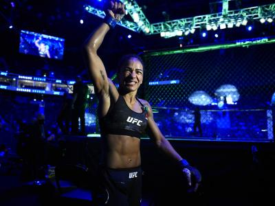 Viviane Araujo of Brazil reacts after her victory over Roxanne Modafferi in a flyweight fight during the UFC Fight Night event at Etihad Arena on UFC Fight Island on January 20, 2021 in Abu Dhabi, United Arab Emirates. (Photo by Chris Unger/Zuffa LLC)