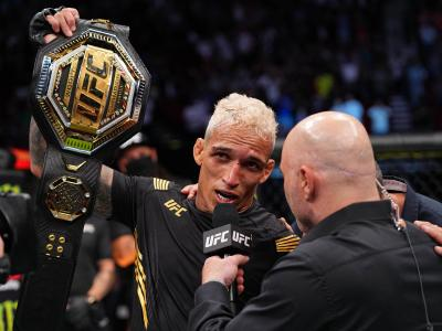 Charles Oliveira of Brazil is interviewed after defeating Michael Chandler in their UFC lightweight championship bout at Toyota Center on May 15, 2021 in Houston, Texas. (Photo by Josh Hedges/Zuffa LLC)